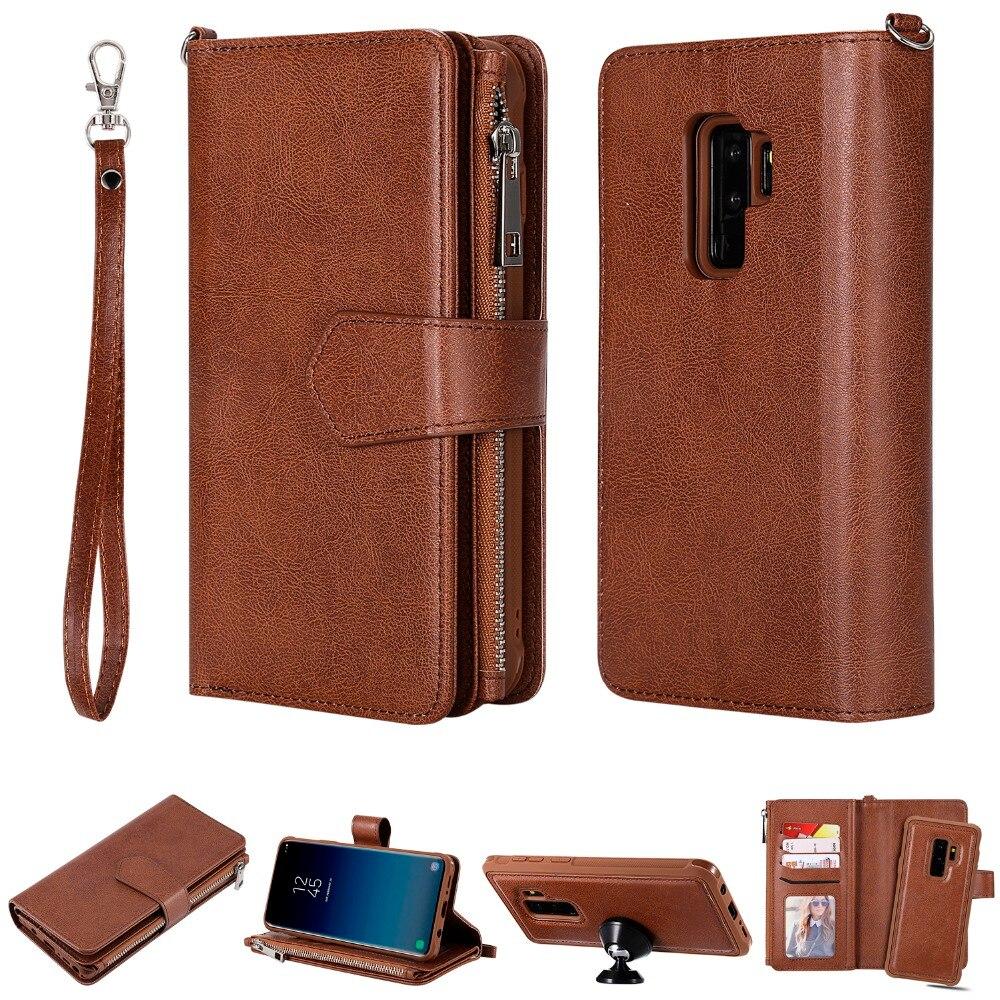 Para Samsung Galaxy S9 Plus s9 + Tampa Do Telefone Galaxy S 9 S9 Magnética Cartão de Bolso Destacável Com Zíper Carteira de Moda caso de Couro da aleta