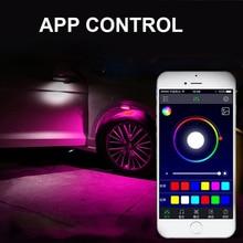 YHKOMS RGB LED Bluetooth Phone Control Atmosphere Light 7 Colors Led Car Decorative Lamp APP Fendar Flares 12V