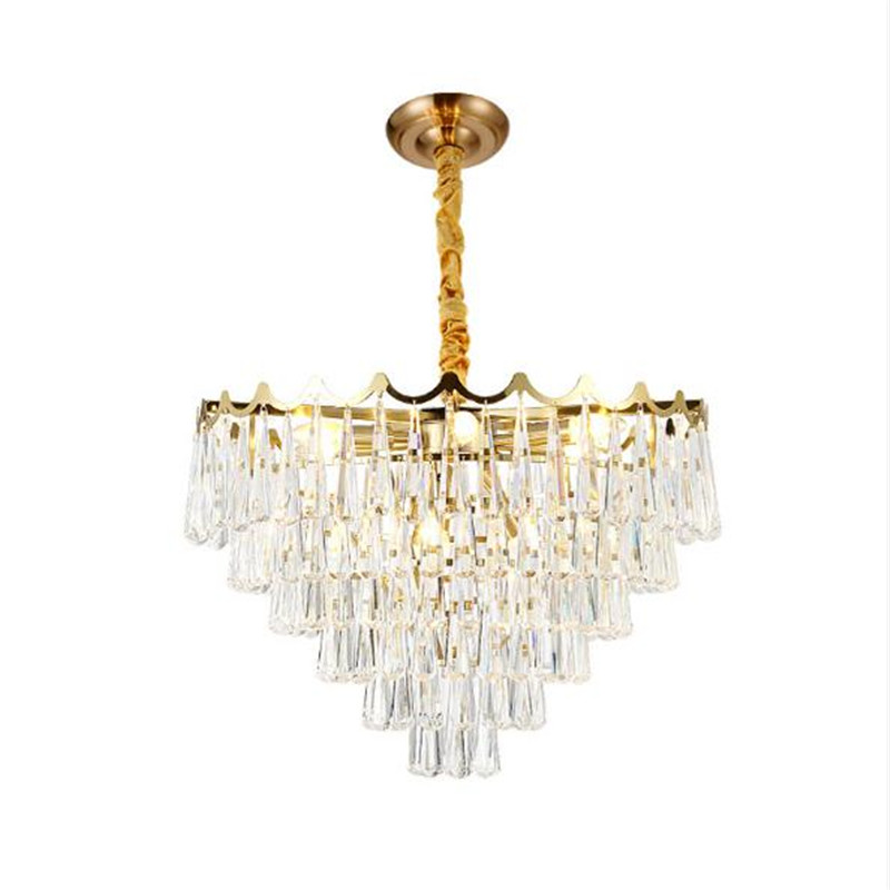 Post-modern Luxurious Water Drop K9 Crystal Gold Iron Led E14 Pendant Light for Living Room Dining Room Bedroom 45/60/80cm 2245 k9 puppy gold