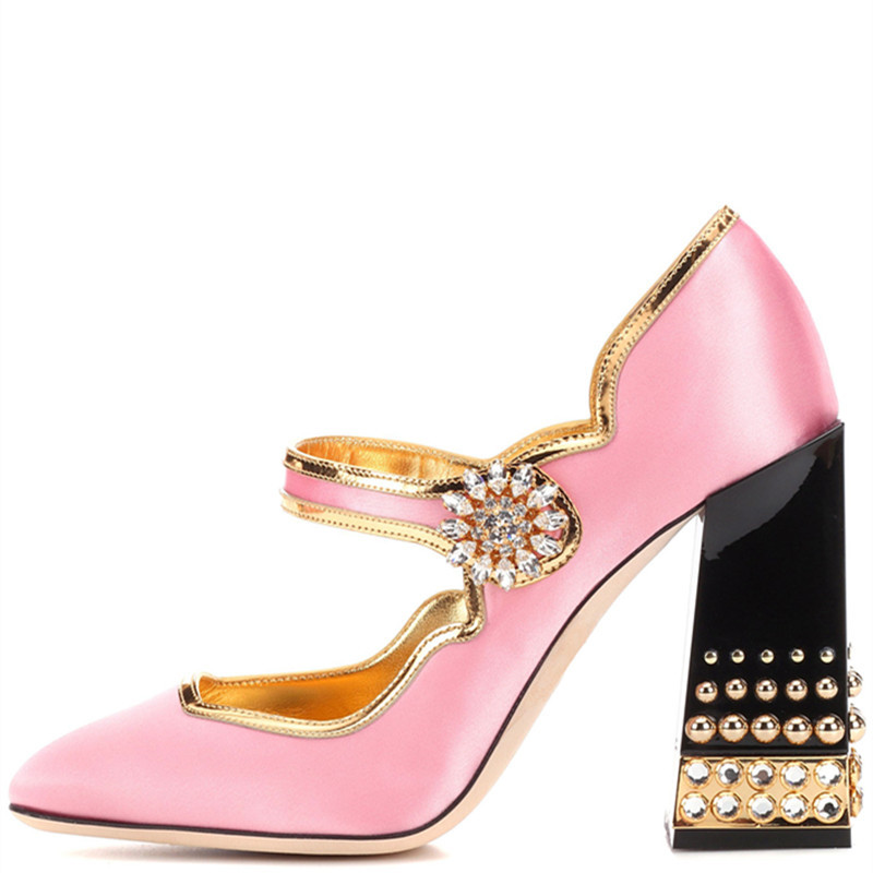 New 2019 Brand Design Lolita Style Pink Satin Mary Jane Shoes Thick Chunky Jewelry Heel Rhinestone