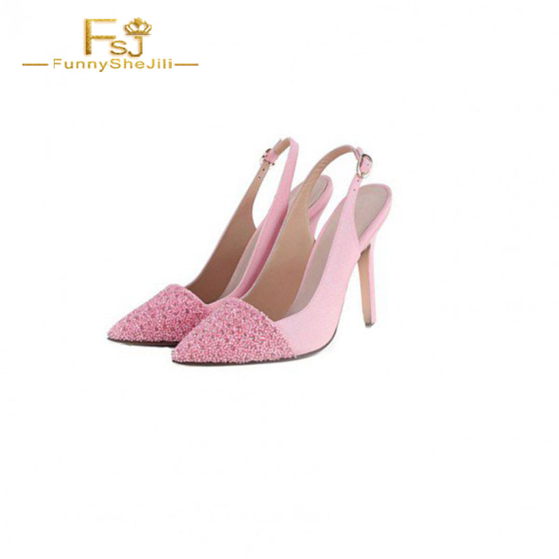 Fsj Rose Printemps D'honneur Bout 12 Pointu Demoiselle Pompes Grande Talons Taille Fsj01 Chaussures Dames De Femmes 13 Shoes11 Mariage Slingback Automne 2108 rqBzArw