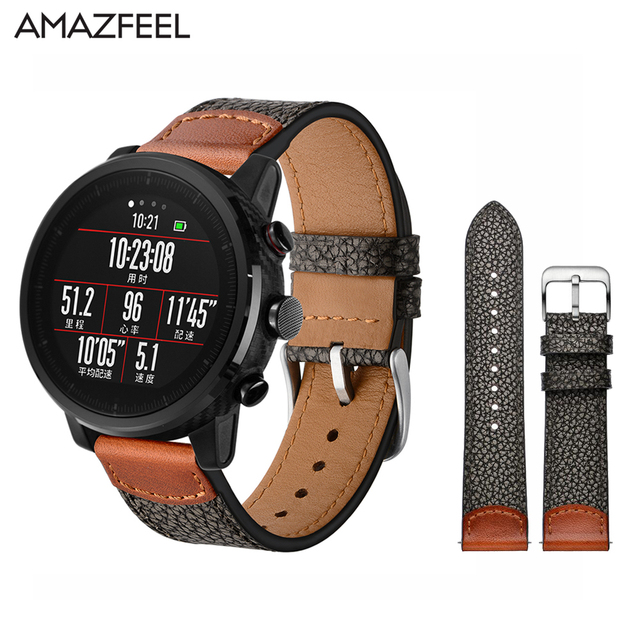 85c29199e Genuine Leather Amazfit Strap 22mm for Original Xiaomi Huami Amazfit  Stratos Pace 2 Smart Watch Band Samsung Gear S3 Bracelet
