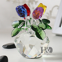 H D Gift For Mother S Day Crystal Cut Multi Color Rose Flower Figurines Wedding Xmas