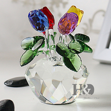 H&D Gift for Mothers Day Crystal Cut Multi-Color Rose Flower Figurines Wedding Xmas Gifts Souvenir Home Decor Table Decoration