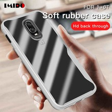 IMIDO Clear Shockproof Phone Case For One Plus 6T Silicone Ultra-Thin Transparent Soft TPU Back Cover 6 Coque Capa