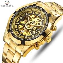 FORSINING الرجال الموضة الهيكل العظمي الميكانيكية ساعة عادية الرياضة مقاوم للماء رجالي كلاسيكي الأعمال ساعة اليد Relogio Masculino
