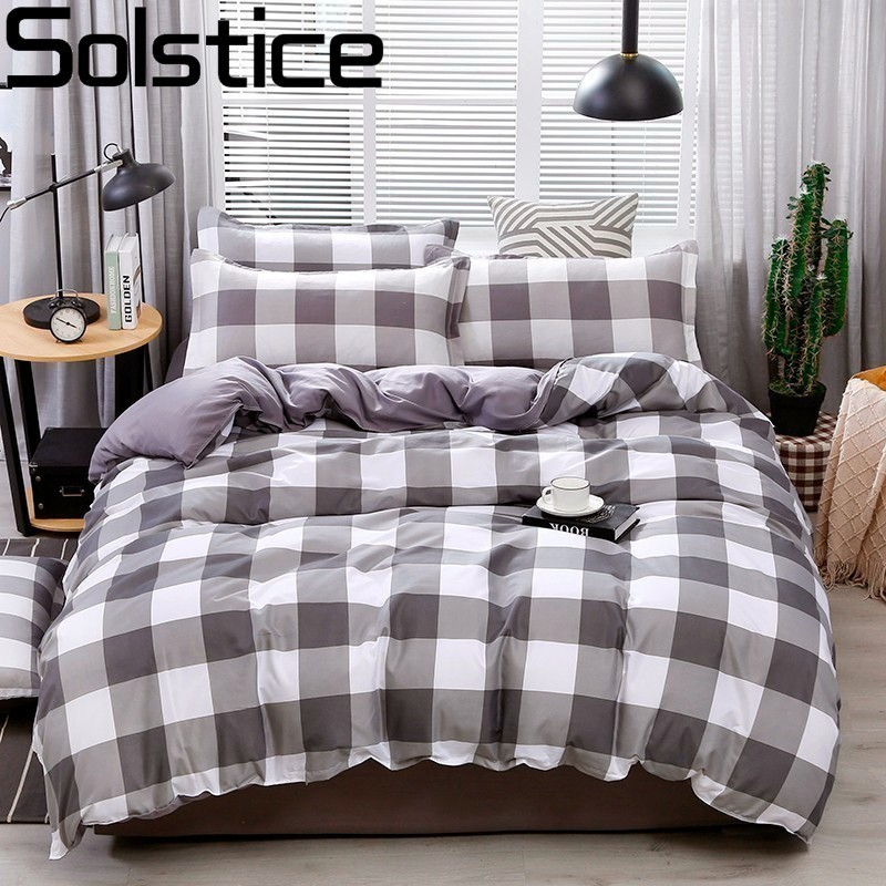 Solstice Pillowcase Bedding-Sets Flat-Sheets Japanese Quilt-Cover Plaid Comfort Soft