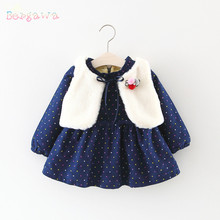 Warm Winter Baby Infant Girls Kids Faux Fur Waistcoat Outwear+Princess Velvet Dot Polka Long Sleeve Dress Vestido 2pcs Set S5987