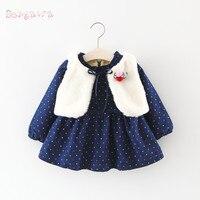 Warme Winter Baby Infant Mädchen Kinder Faux Pelzweste Outwear + Prinzessin Samt Dot Polka Langarm Kleid Vestido 2 stücke Set S5987