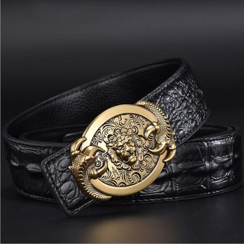 2019 Men Crocodile Grain Leather Belts Tiger Lions Eagle Cicadas Wolf Scorpion Buckle Alligator Grain Jeans Belts XKS072