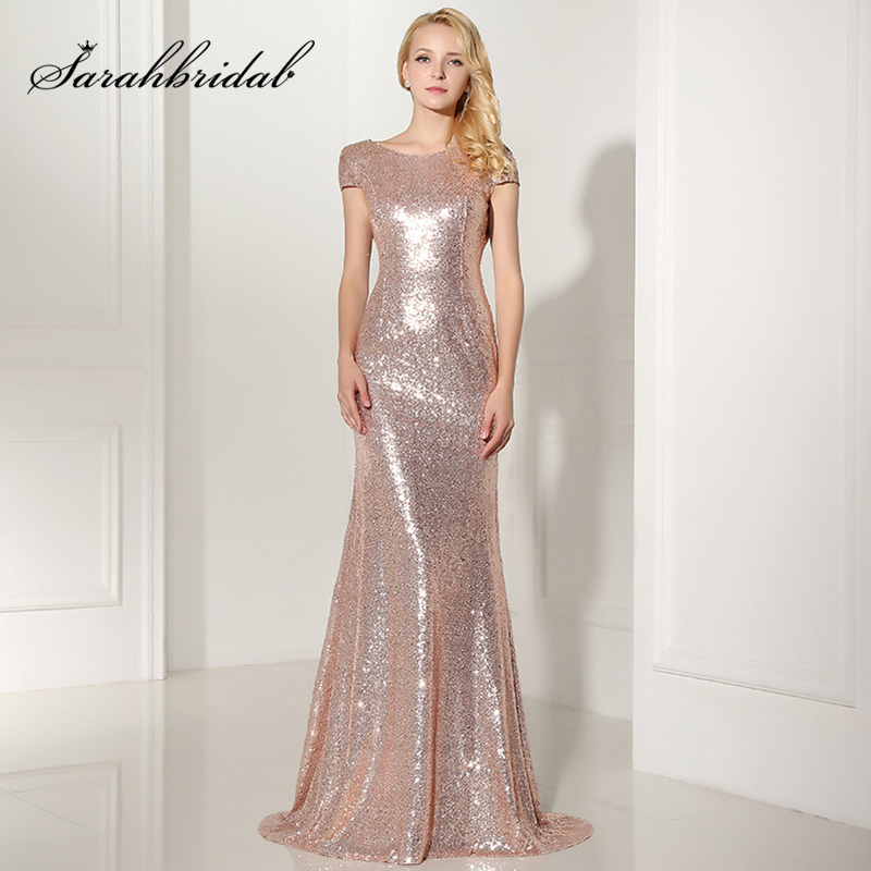 Plus Size Rose Gold Shining Sequin   Bridesmaid     Dresses   Sexy Backless Long Wedding Party Gowns Simple Maid of Honor   Dress   OS347