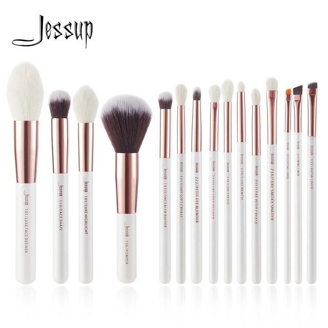 Jessup жемчужные белые/розовое золото Профессиональные кисти для макияжа набор кистей для макияжа Набор инструментов основа порошок натураль...