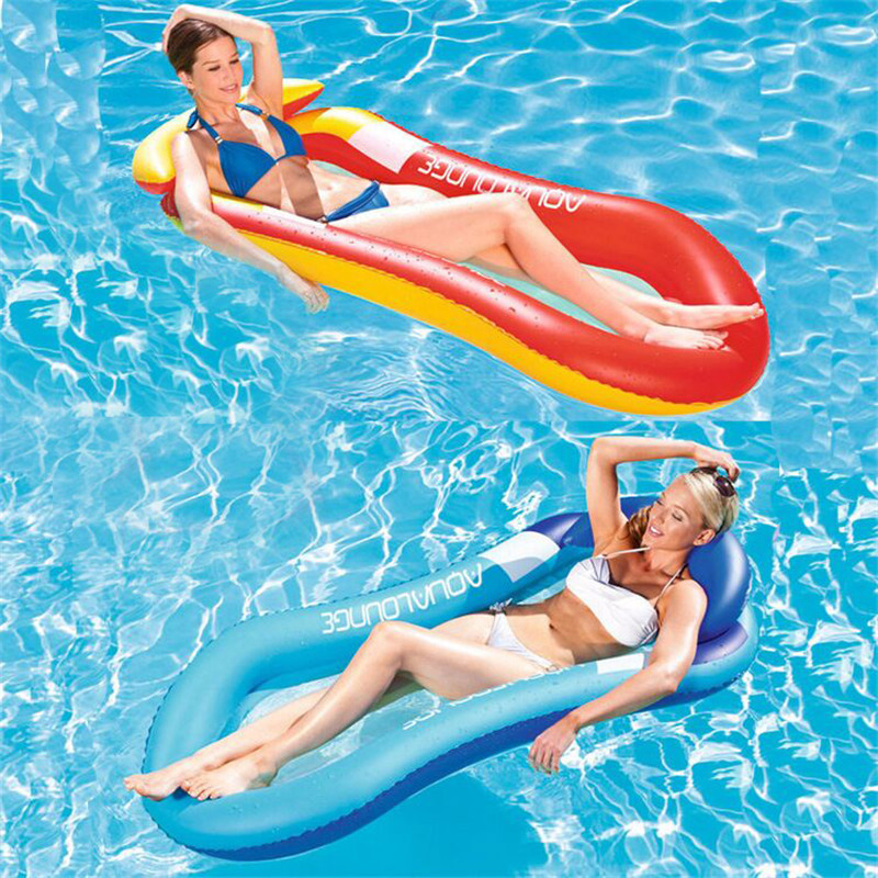 Inflatable Floating Row Swimming Leisure Adult Floating Lounger Beach Bathing Swim Air Pads Inflatable Bed Water Hammock Float intex pacific paradise lounge marine intex 58286 chaise lounge water floating row floating bed water