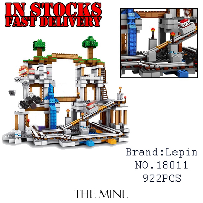 Lepin Minecraft 18011 922pcs My World The Mine Building Blocks Bricks anime action Figures educational Toys for children 21118