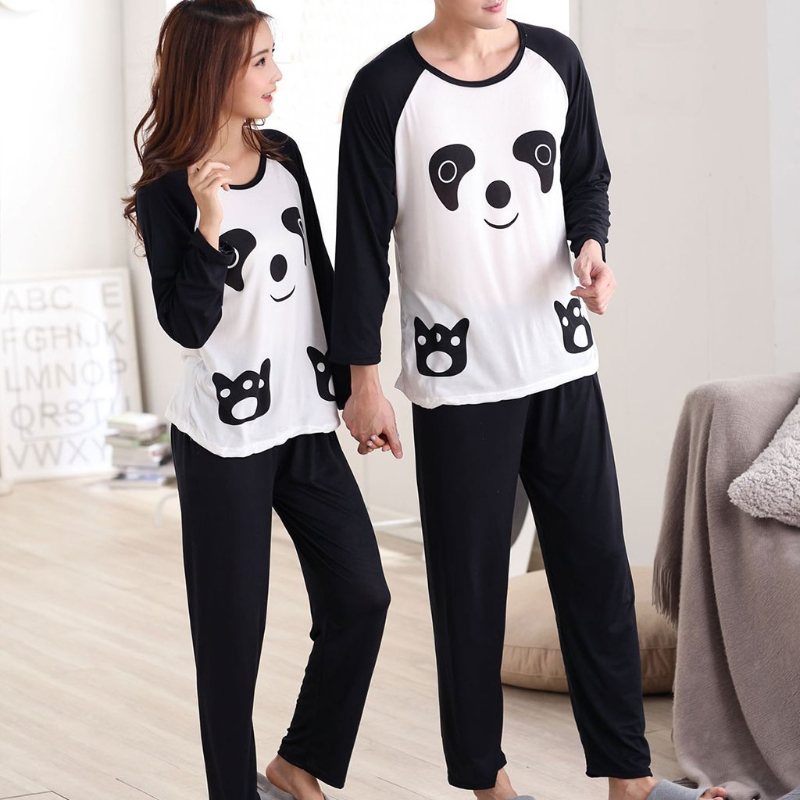 KLV Couples Women Men Autumn Cartoon Panda Long Sleeve Pullover Pants Pajamas Set Sleepwear Casual Lounge Wear New M/L/XL/2XL
