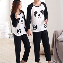 f8436e3fe828 KLV Couples Women Men Autumn Cartoon Panda Long Sleeve Pullover Pants Pajamas  Set Sleepwear Casual Lounge