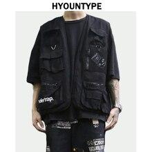High Street Pockets Vests Men Letter Cargo Waistcoat Zipper Military Jacket 2018 New Hip Hop Streetwear Tactical Vest Sweatshirt