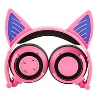 2017 New Cute Glow Bluetooth Cat Ear Headphones For Girls Led Wireless Bluetooth Headphone Children Luminous