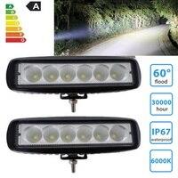 2pcs 18W DRL LED Work Light Bar Spotlights Flood 12V 24V LED Work Car Light For