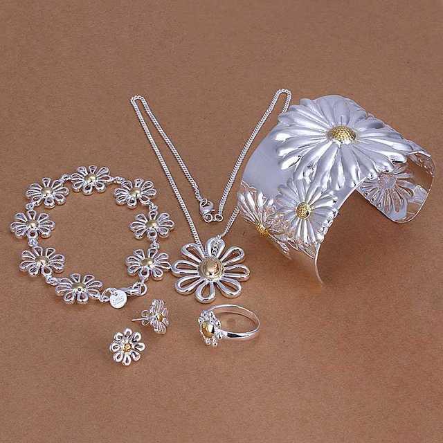 Envío Libre exo joyería plateada de plata conjuntos Crisantemo 5 Unidades Establece Conjuntos para mujeres hombres joyería HBS086