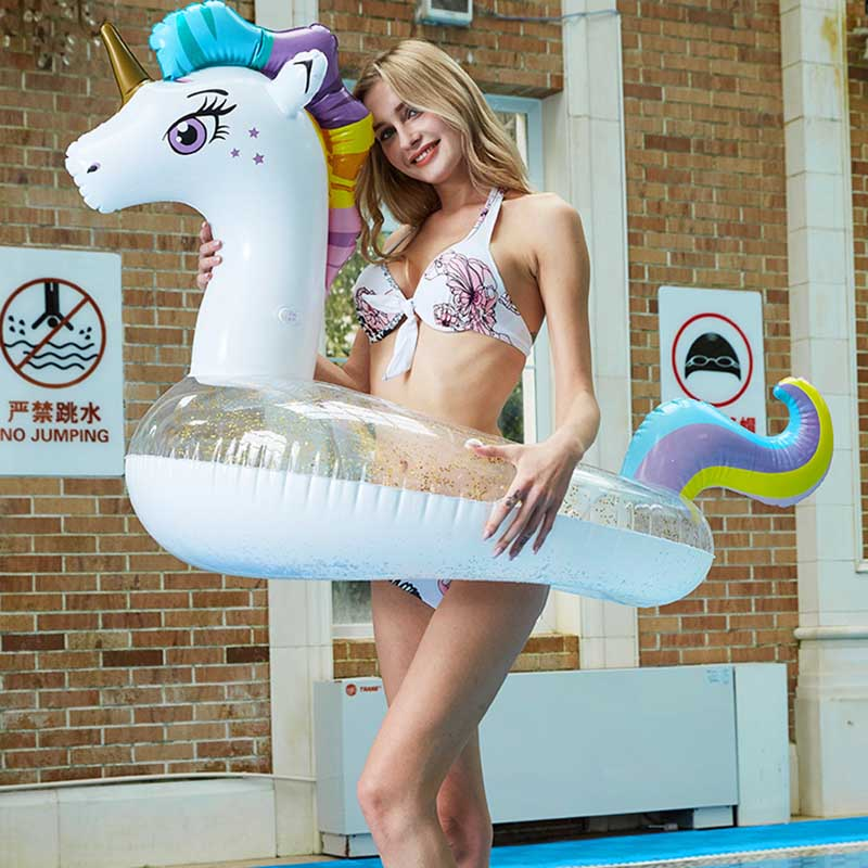 Inflatable Unicorn Buoy Water Mattress Floating Row Toys Swimming Pool Games Water Fun Play Summer Toy For Adults Children