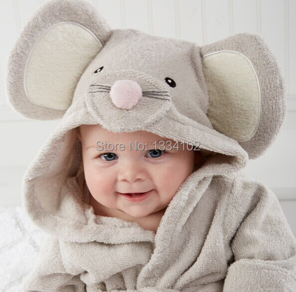 Hot Retail Boy Girl Animal Baby Bathrobe  Baby Hooded -8244