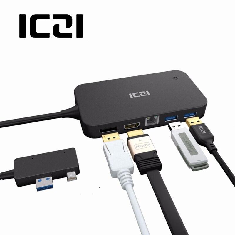 ICZI поверхности Dock Hub с HDMI DP Ethernet Lan порты и разъёмы USB 2,0/3,0 док станция для microsoft Surface Pro 4 5 6