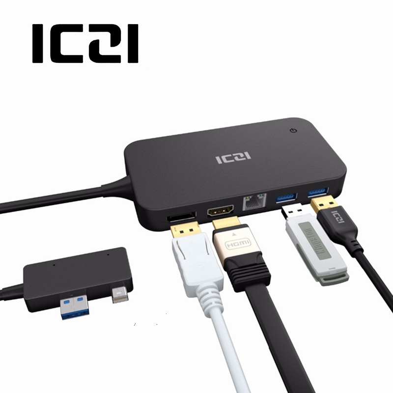 ICZI רכזת USB עגינה עם יציאת HDMI DP Ethernet Lan יציאת USB 2.0 / 3.0 יציאת תחנת עגינה עבור Microsoft Surface Pro 6 5 4