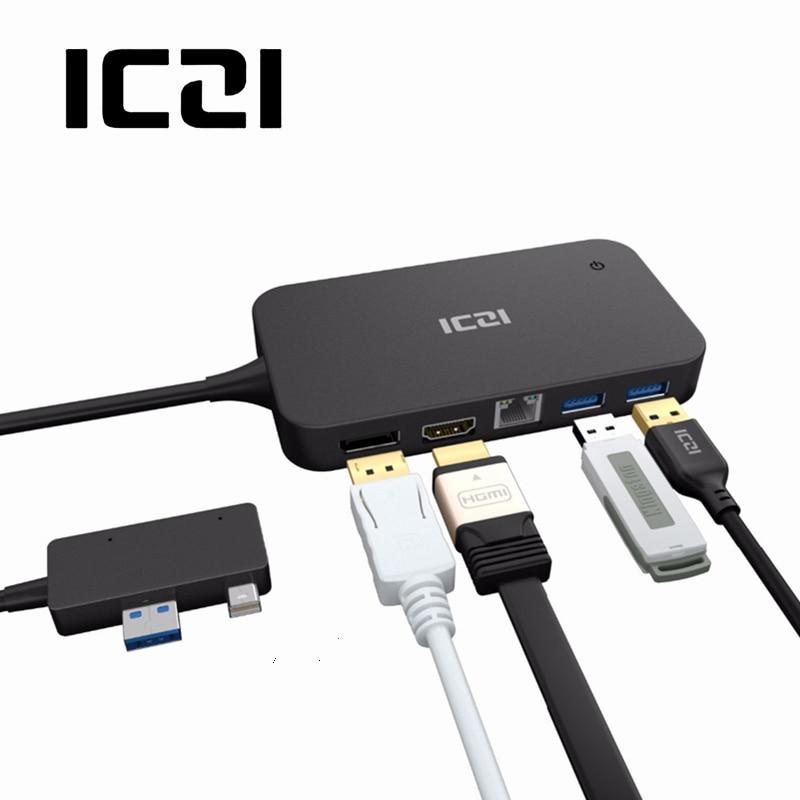 Superfície ICZI Doca Hub USB Com HDMI DP Porta Ethernet Lan USB 2.0 Port/3.0 Docking Station Para Microsoft Superfície Pro 6 5 4