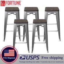 USA Shipment Bar Stool Wood Bar Chair 5 Pieces Metal High chair Mid Century Modern Bar Stool High Quality Bar Chair