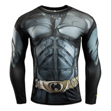 Men's Slim Fit 3D Printed Batman Compression Sports T-shirts Long Sleeve Fitness Running Athletic Cycling Jersey Quick-Dry Shirt