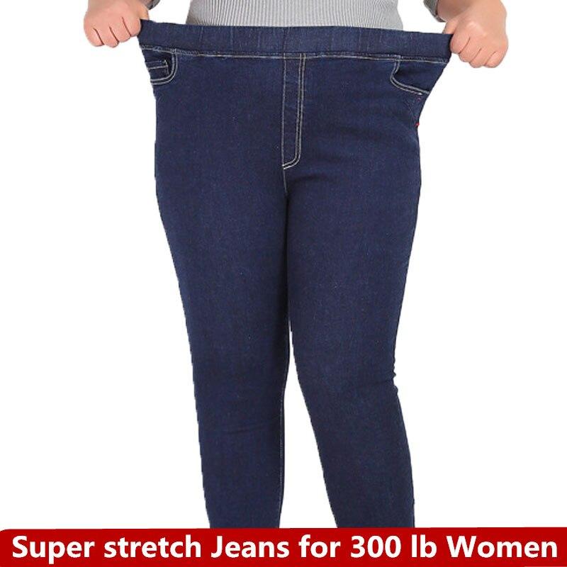 Denim Trousers For Woman Blue 9XL 8XL 7XL 2018 Autumn Women's Plus Size Casual Women Jeans Slim Stretch Pencil Pant