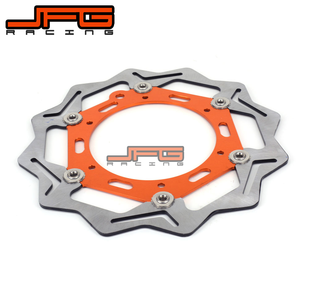 JFG 270mm Front Floating Brake Disc Rotor For KTM 125 150 250 300 350 400 450 520 640 EXCF SXF XCW EXC SX DUKE Motocross Enduro motorcycle front rider seat leather cover for ktm 125 200 390 duke