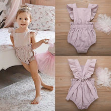 2019 Newborn Toddler Infant Baby Girls Pink Deer Ruffles Romper Jumpsuit Clothes Outfits Girl Backless Summer