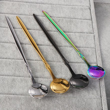 Stainless Steel Coffee Tea Spoon Football Shape Colorful Tableware Dinnerware Ice Cream Scoops Kitchen Supplies(China)