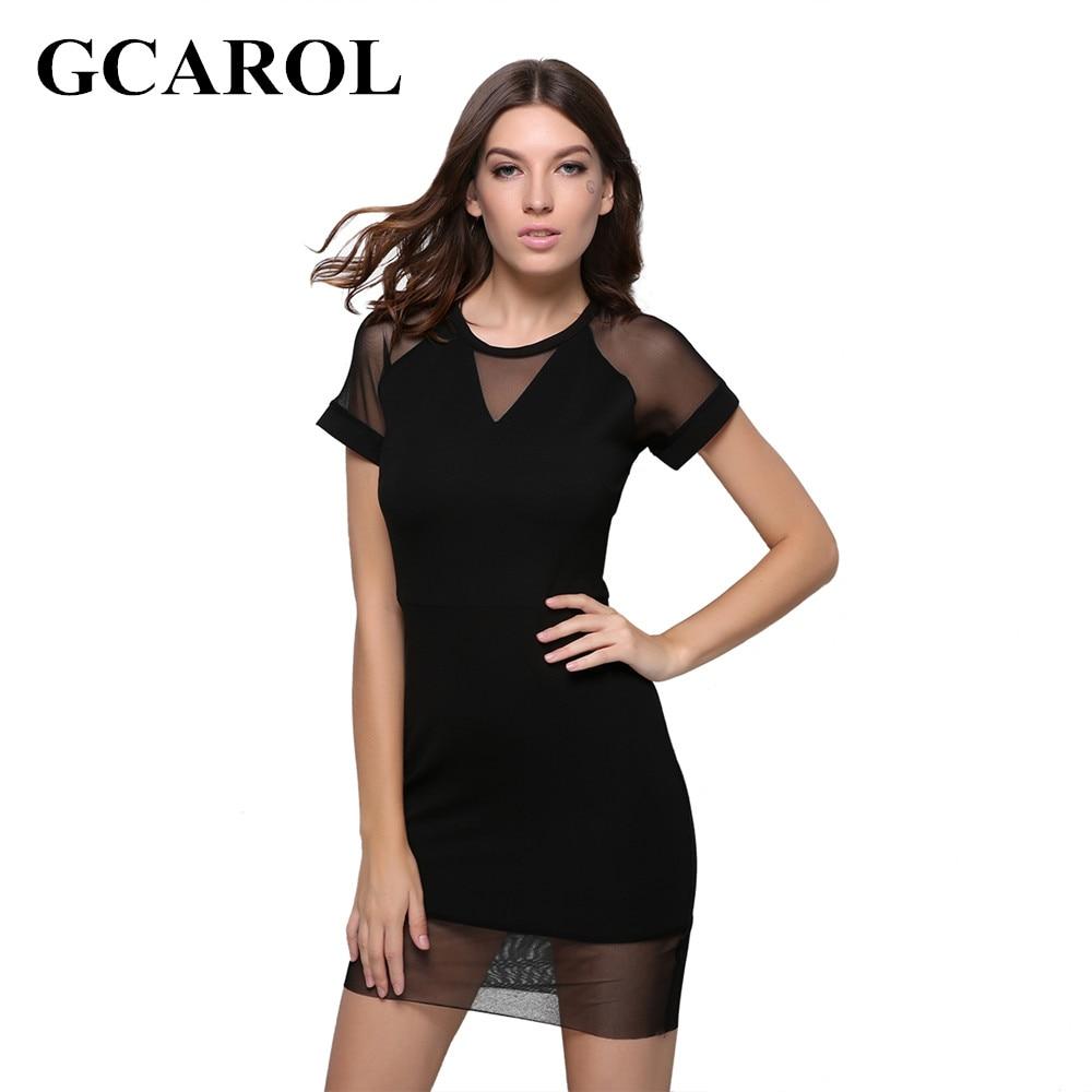 GCAROL 2017 Women Organza Spliced Knitted Dress Sexy Bodycon Dress Low Profile Black OL Slim Dress