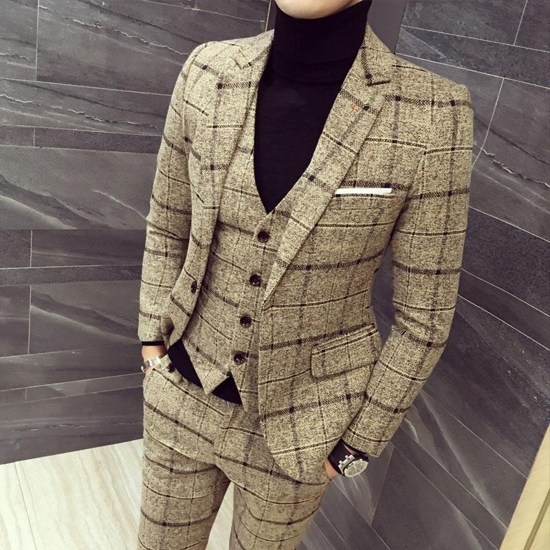 2019 New Mens Three-piece Set ( Jacket + Vest + Pants ) Asia Size S-5XL Men Plaid Stripes Mens Suits