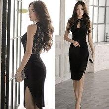 Sexy Black Dress Korean Women Mandarin Collar Lace Dress Sle