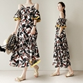 Korea New Long Summer Dress 2016 Off Shoulder Printing Dress Strapless Flounced Women Printing Plus Size Fashion Dress
