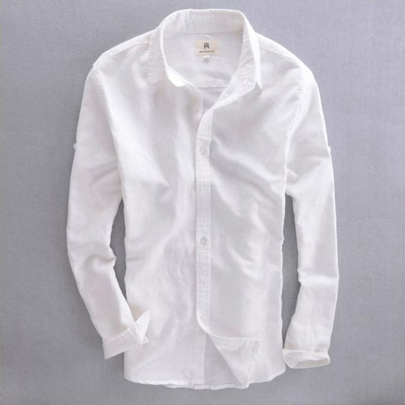 2018 Summer Fashion Male Casual Linen White Shirt Men Thin