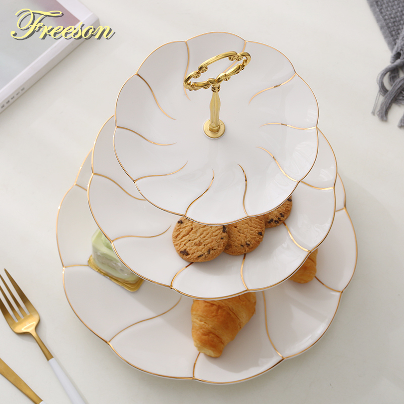 Europe Gold Inlay Bone China Fruit Plates Snack Dishes Cake Plate Candy Dish Porcelain Tray Ceramic Tableware Decoration