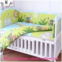 ¡Promoción! 6 piezas personalizar la cama de bebé alrededor del conjunto de ropa de cama, incluye (parachoques + hoja + funda de almohada)