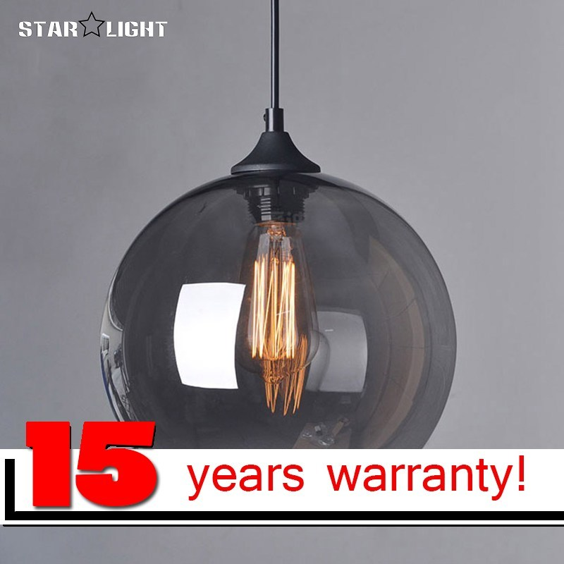 Mode suspended <font><b>Pendant</b></font> lamp glass ball hanging glass lights lamp shades Translucent blackish gray glass lampshades with bulb