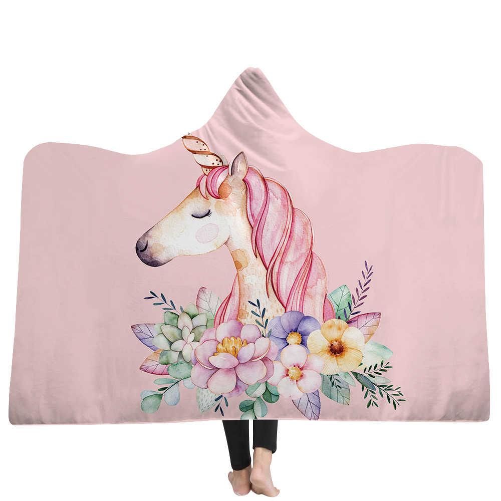 Фото EHOMEBUY одеяло с капюшоном 3D цветной единорог печать дома переносное для детей и