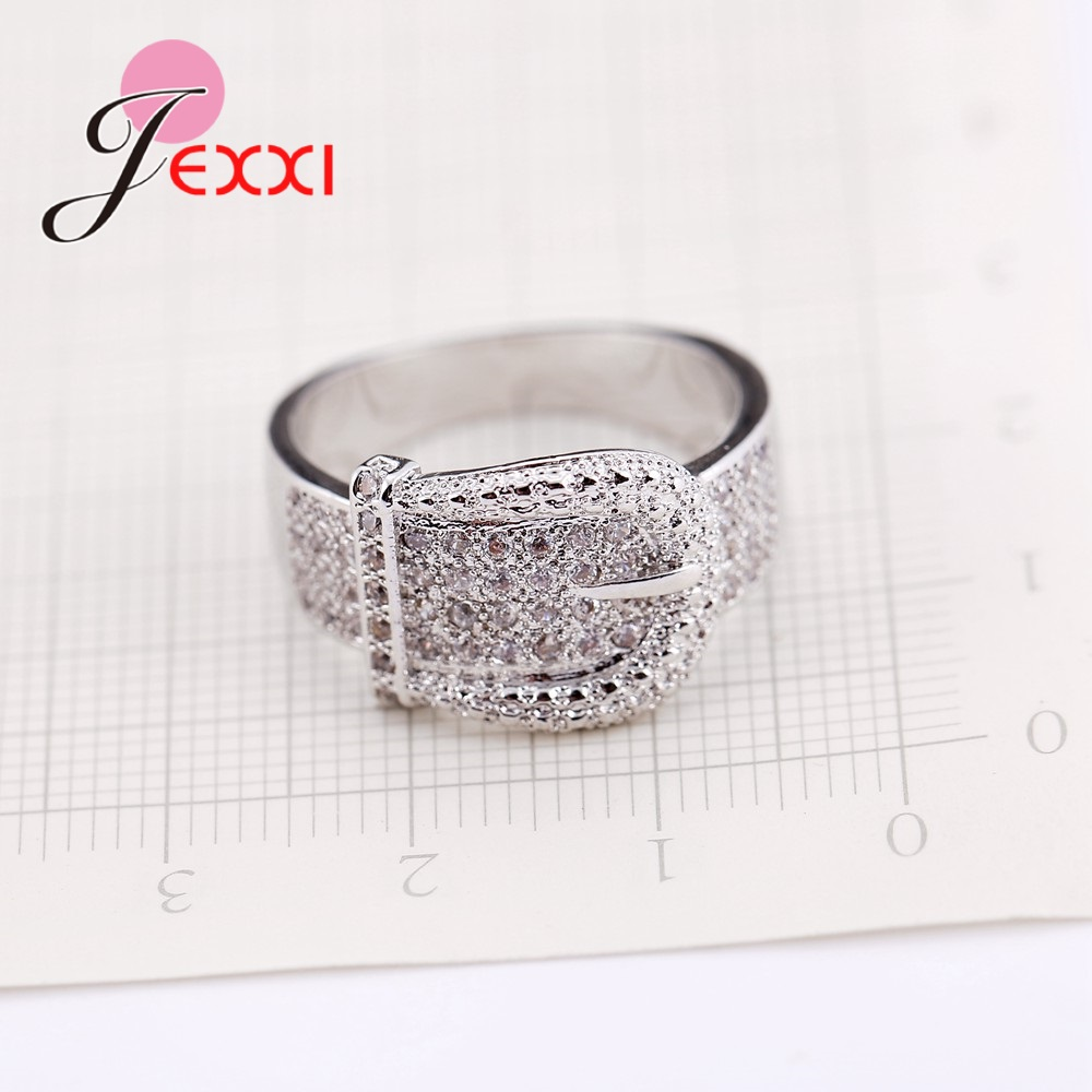 Latest 925 Sterling Silver Rings AAA Cubic Zircon CZ Stone Belt Buckle Design Lovely Women's Big Party Accessories 4