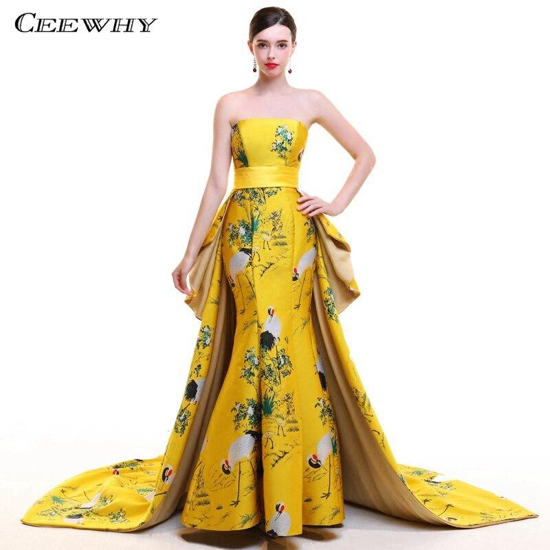 CEEWHY épaule dénudée Vintage turquie robe de soirée musulmane imprimé Floral robe de bal robes de soirée formelles longue Abiye Gece Elbisesi