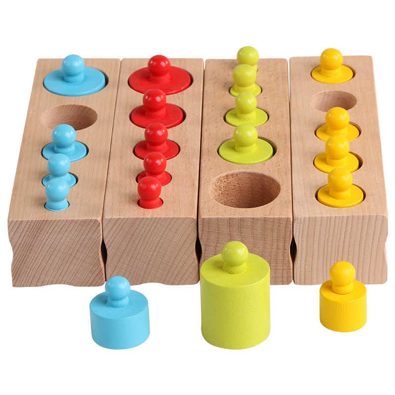 Tomada Cilindro Montessori brinquedos Educativos De Madeira Blocos Do Bebê Brinquedo Logwood a Prática do Desenvolvimento e Os Sentidos
