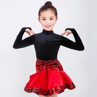 Latin Dance Dress Girls Red Leopard Skirts Black Velvet Long Sleeve Top Kids Costumes Competitive Children Ballroom Samba DN5025