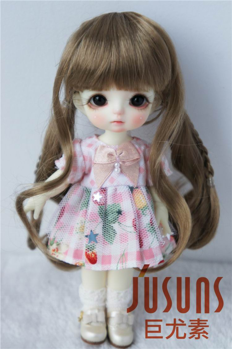JD328 1/4(18-20CM) Synthetic mohair doll wigs  7-8inch Double pony - Dolls and Stuffed Toys