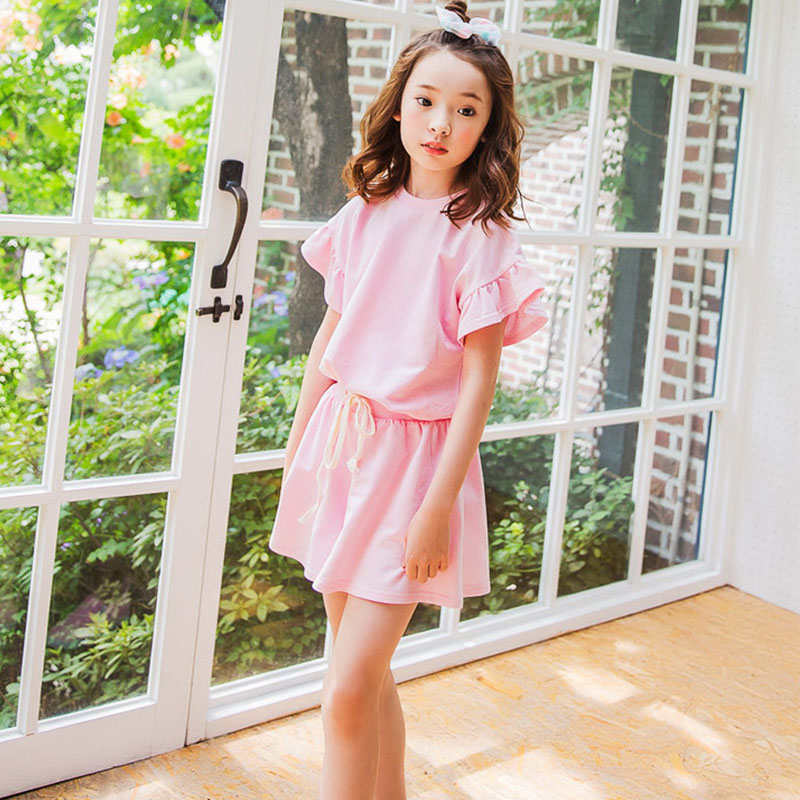 cotton big girls summer clothes set  2pcs children clothing sets summer girls sport suit age 8 10 12 15 4 Years old tops shorts